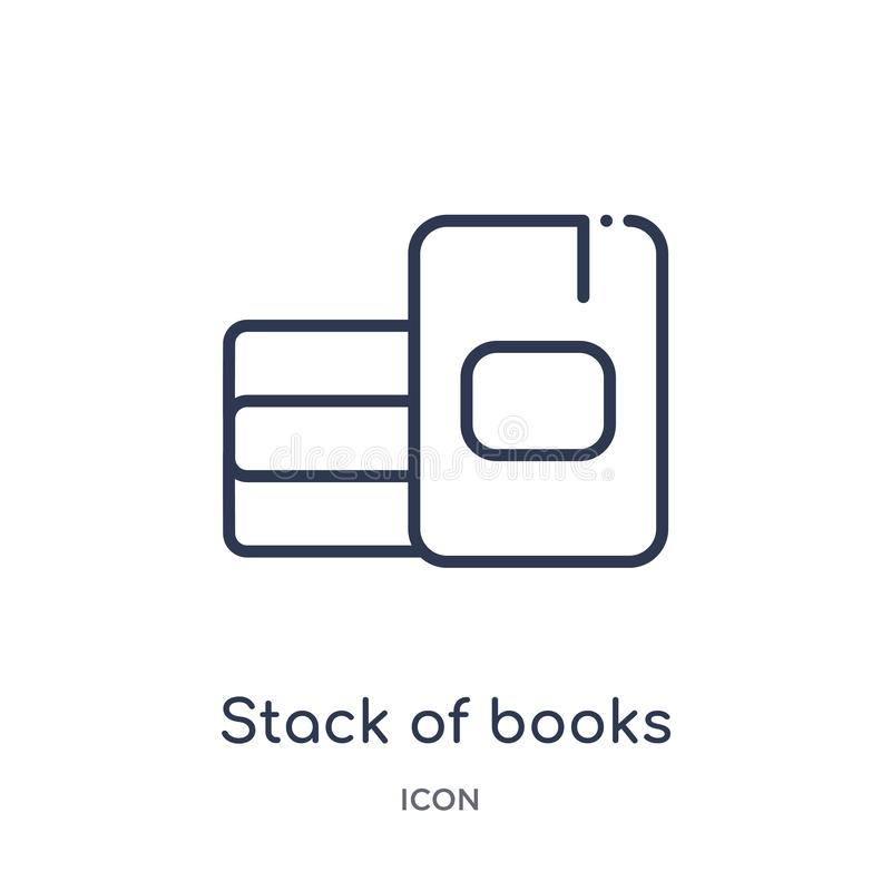 Linear stack of books icon from Education outline collection. Thin line stack of books icon isolated on white background. stack of royalty free illustration
