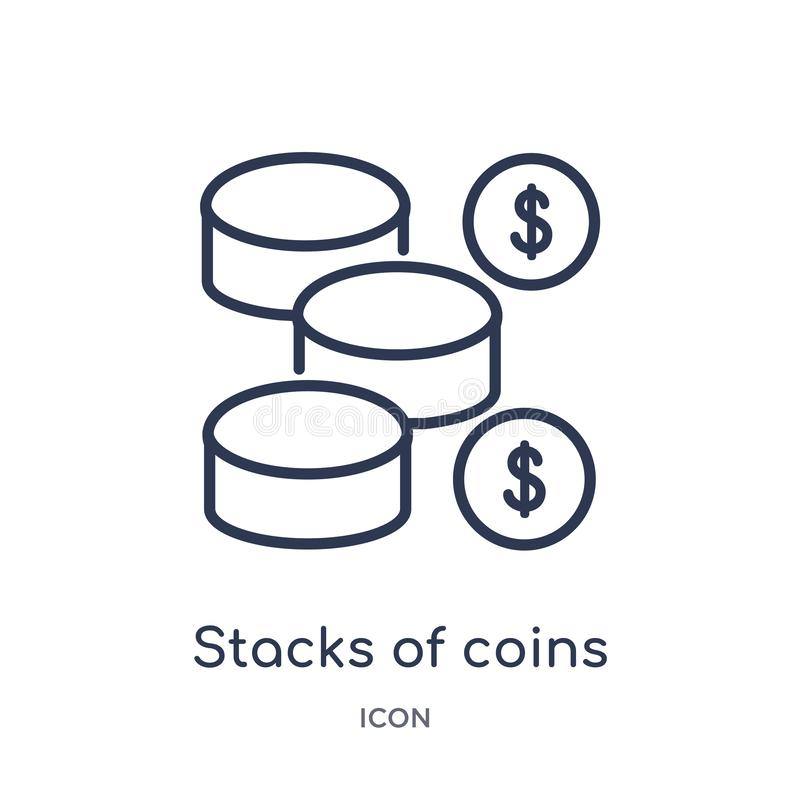 Linear stacks of coins icon from Business outline collection. Thin line stacks of coins icon isolated on white background. stacks royalty free illustration