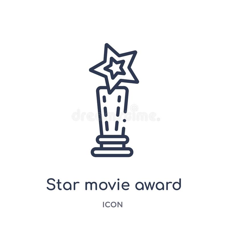 Linear star movie award icon from Cinema outline collection. Thin line star movie award vector isolated on white background. star. Movie award trendy stock illustration