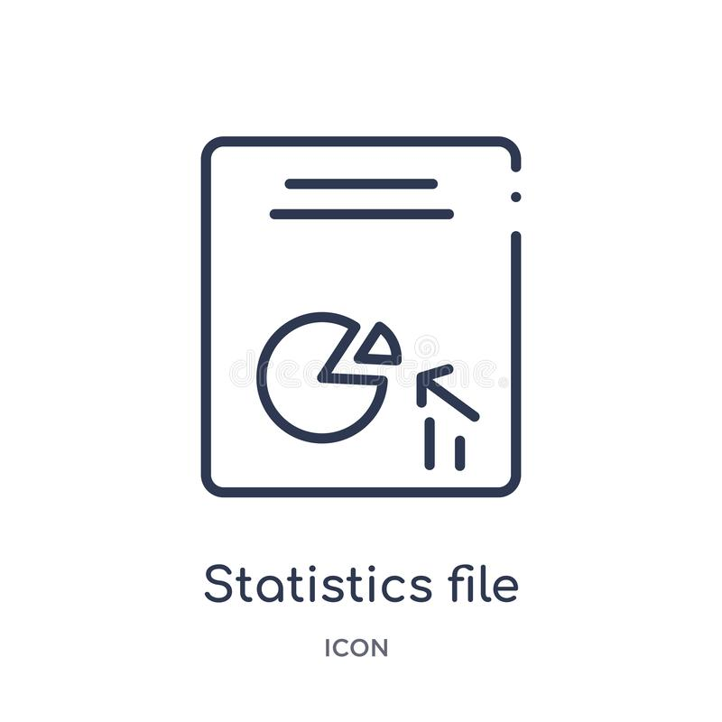 Linear statistics file icon from Files and folders outline collection. Thin line statistics file icon isolated on white background royalty free illustration