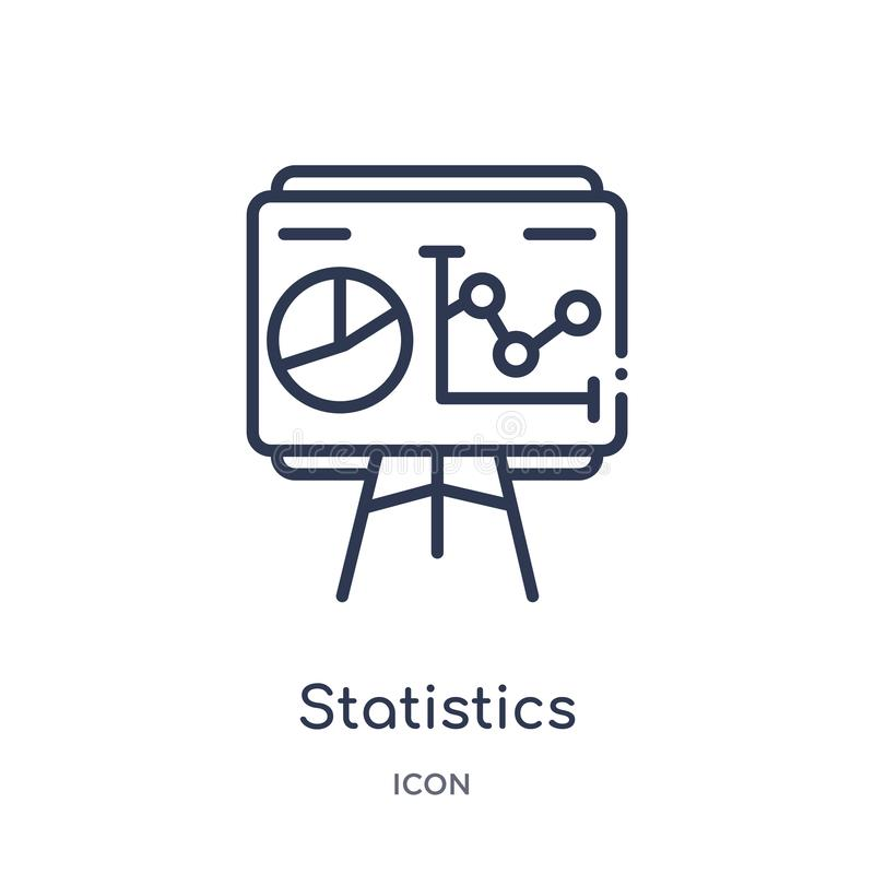 Linear statistics presentation icon from Business outline collection. Thin line statistics presentation icon isolated on white royalty free illustration