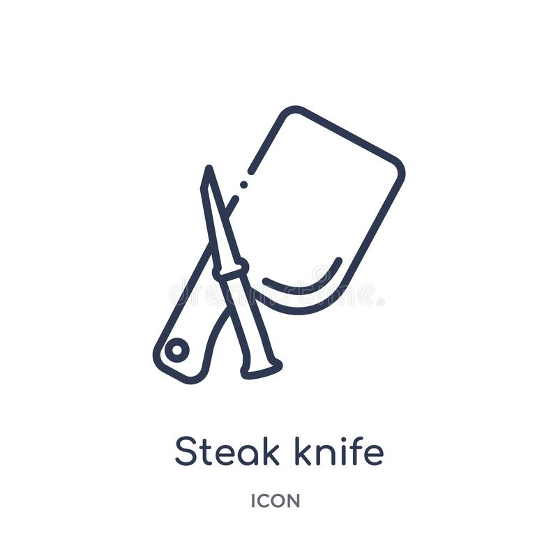 Linear steak knife icon from Kitchen outline collection. Thin line steak knife icon isolated on white background. steak knife royalty free illustration