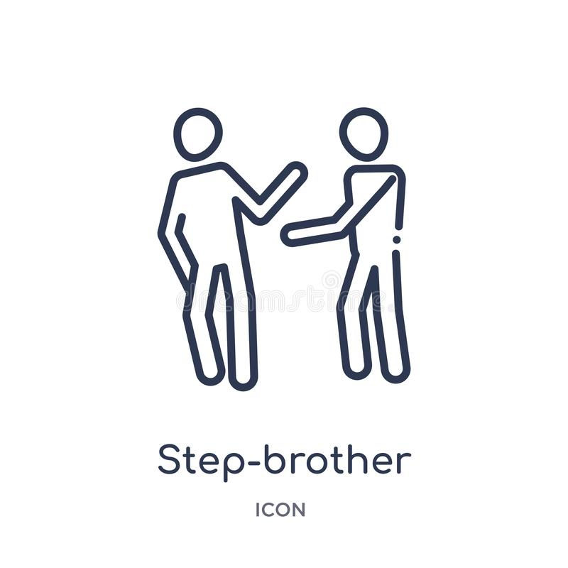 Linear step-brother icon from Family relations outline collection. Thin line step-brother vector isolated on white background. vector illustration