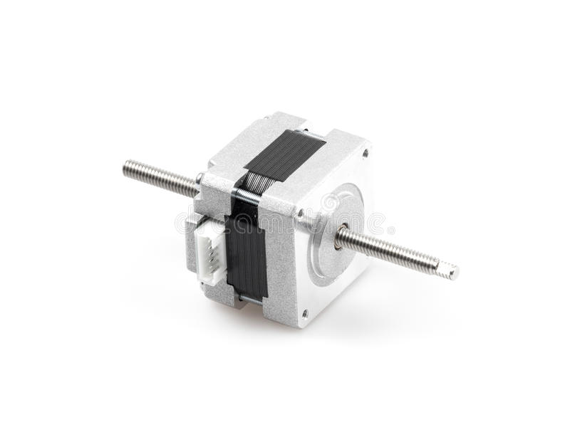 Linear stepper motor. A linear stepper motor actuator creates translational motion with the simple operation of a stepper motor stock image