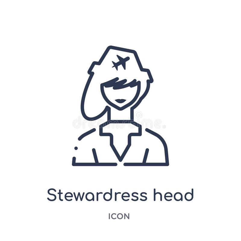 Linear stewardress head icon from Airport terminal outline collection. Thin line stewardress head vector isolated on white royalty free illustration
