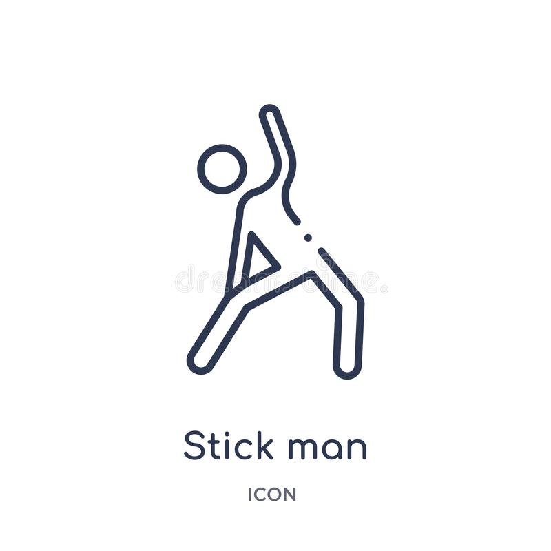 Linear stick man excersicing icon from Behavior outline collection. Thin line stick man excersicing vector isolated on white stock illustration