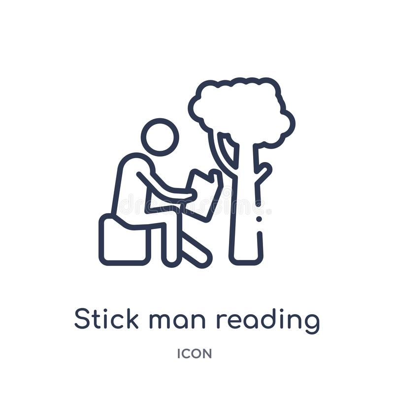 Linear stick man reading icon from Behavior outline collection. Thin line stick man reading vector isolated on white background. stock illustration