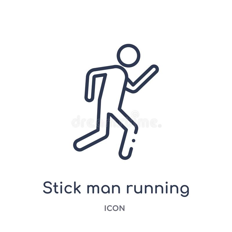 Linear stick man running icon from Behavior outline collection. Thin line stick man running vector isolated on white background. vector illustration