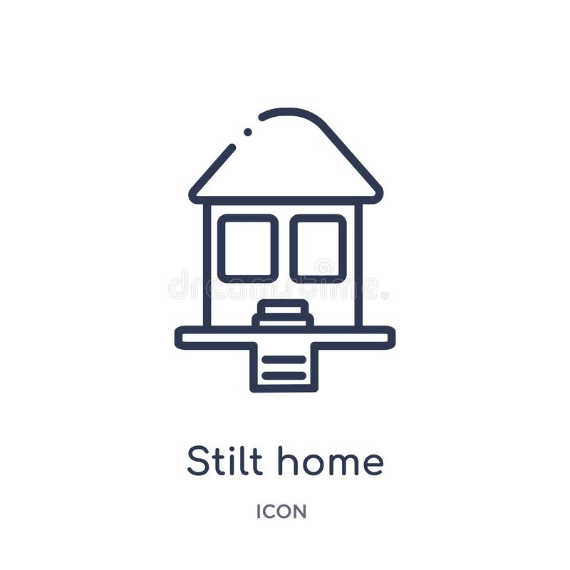 Linear stilt home icon from Buildings outline collection. Thin line stilt home icon isolated on white background. stilt home vector illustration