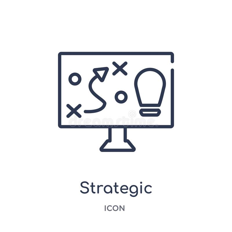 Linear strategic icon from Business outline collection. Thin line strategic icon isolated on white background. strategic trendy stock illustration