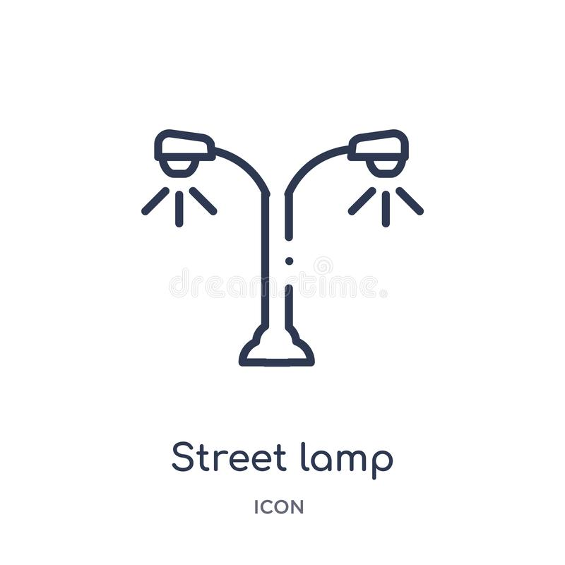 Linear street lamp icon from City elements outline collection. Thin line street lamp vector isolated on white background. street vector illustration