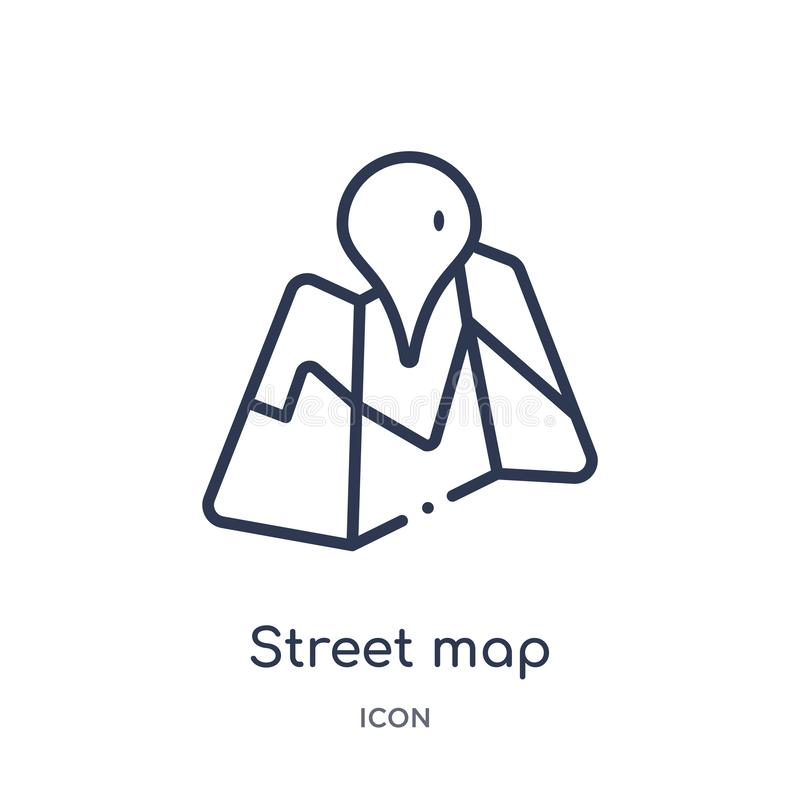 Linear street map icon from Maps and locations outline collection. Thin line street map icon isolated on white background. street vector illustration