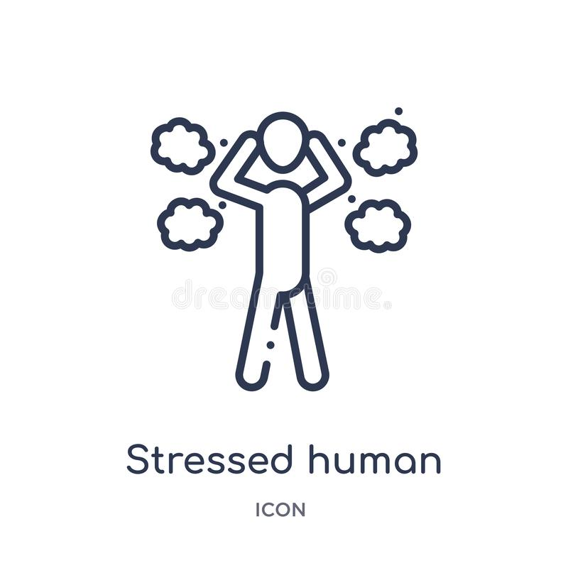 Linear stressed human icon from Feelings outline collection. Thin line stressed human vector isolated on white background. vector illustration
