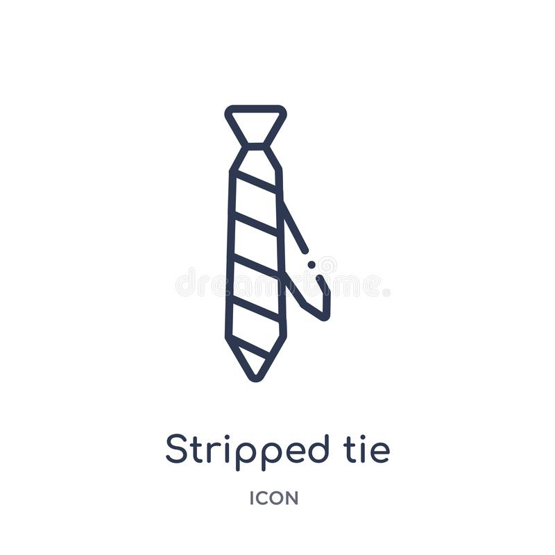 Linear stripped tie icon from Fashion outline collection. Thin line stripped tie icon isolated on white background. stripped tie vector illustration