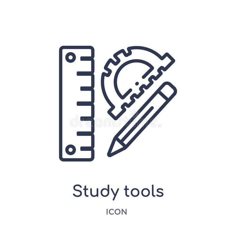 Linear study tools icon from Elearning and education outline collection. Thin line study tools vector isolated on white background royalty free illustration