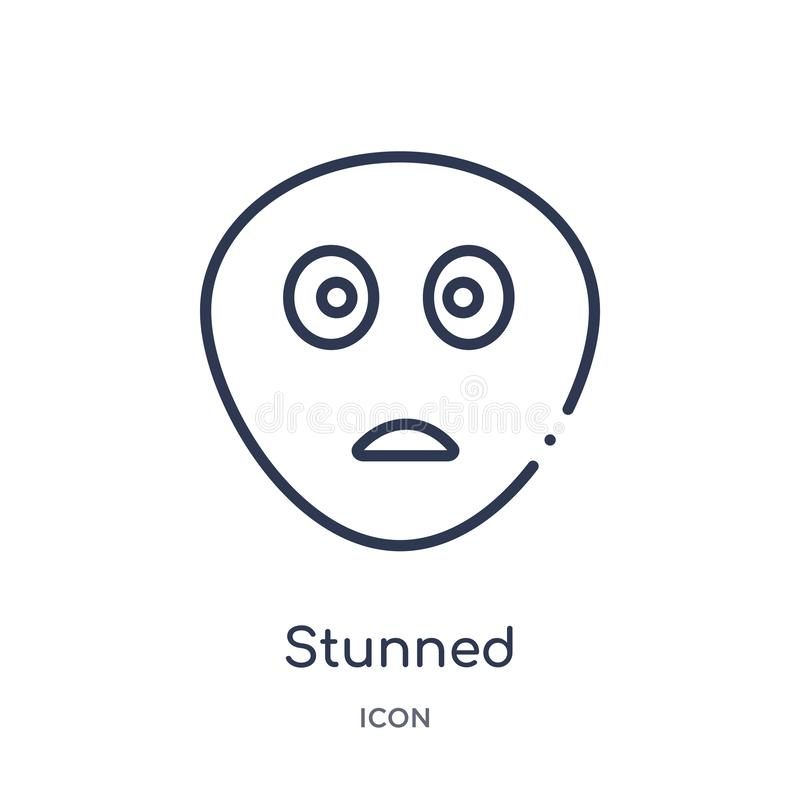 Linear stunned icon from Emotions outline collection. Thin line stunned vector isolated on white background. stunned trendy vector illustration