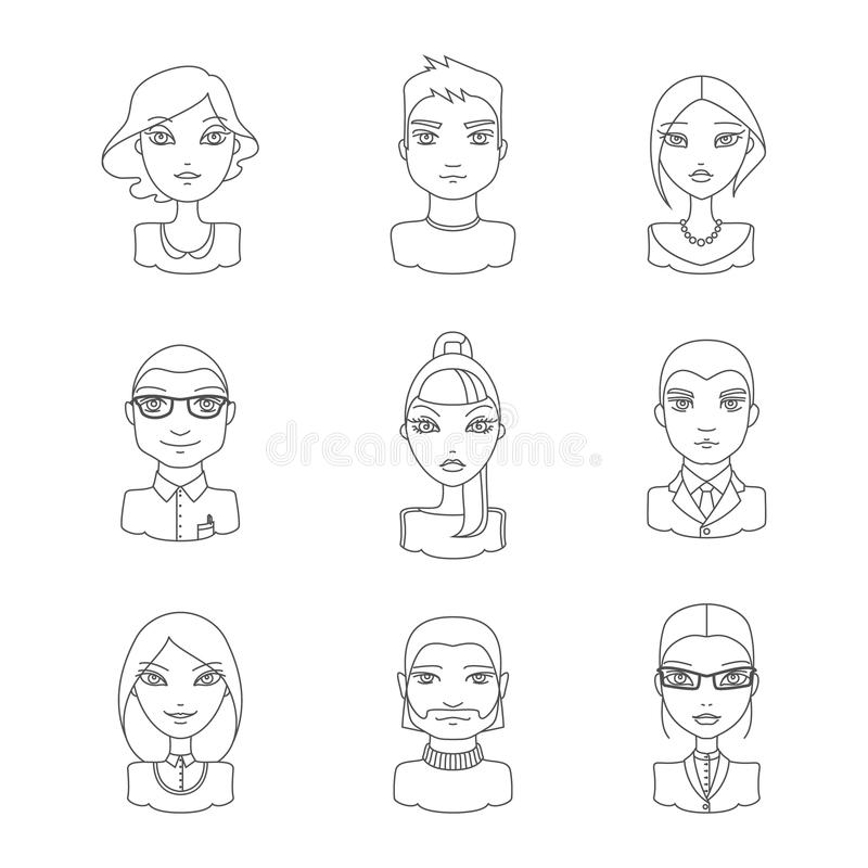 Linear style people icon set. stock illustration