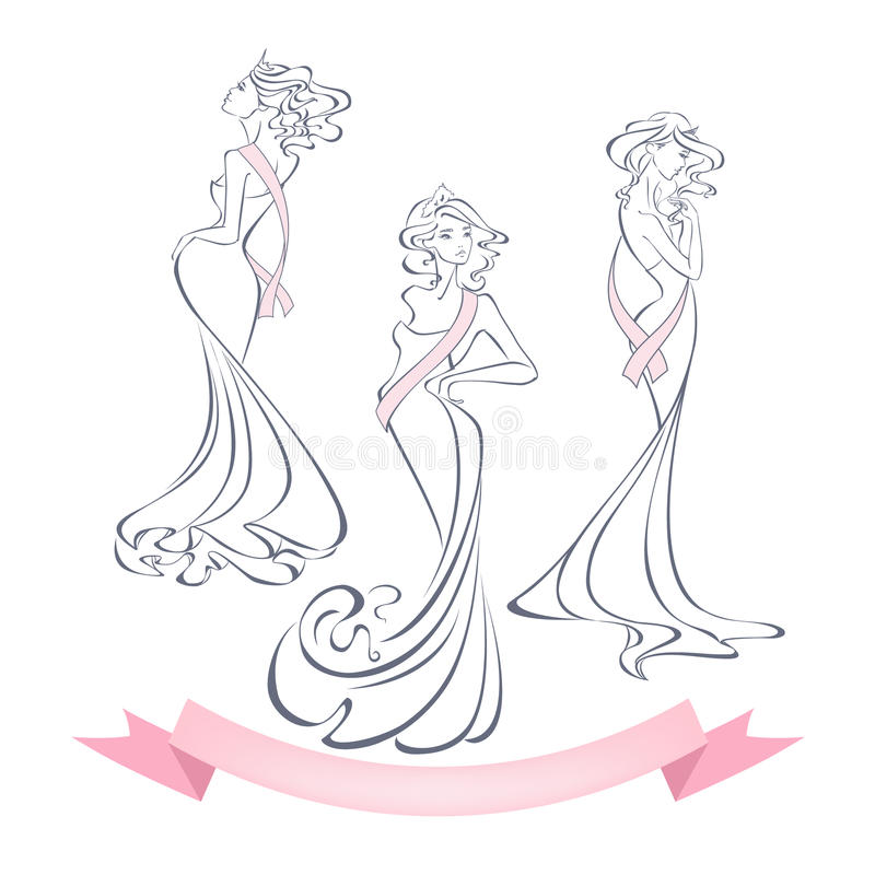 Linear style silhouettes of beautiful girls in evening dresses vector illustration