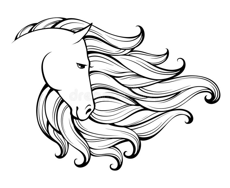 Linear stylized horse. Black and white graphic. Vector illustration can be used as design for tattoo,t-shirt,bag,poster, postcard. Linear stylized horse. Black stock illustration