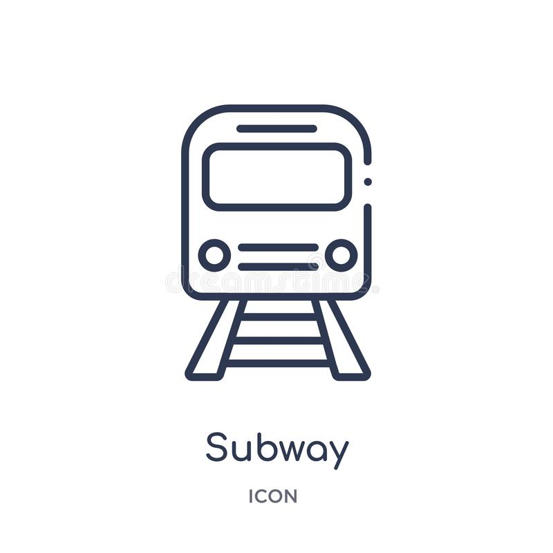 Linear subway icon from City elements outline collection. Thin line subway vector isolated on white background. subway trendy royalty free illustration