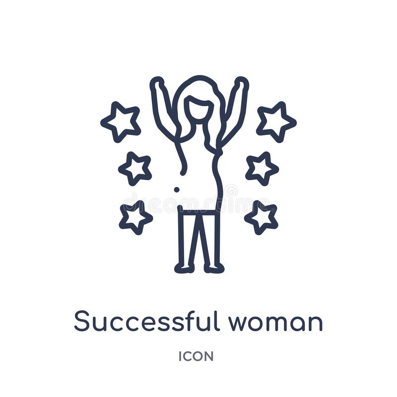 Linear successful woman icon from Ladies outline collection. Thin line successful woman icon isolated on white background. vector illustration