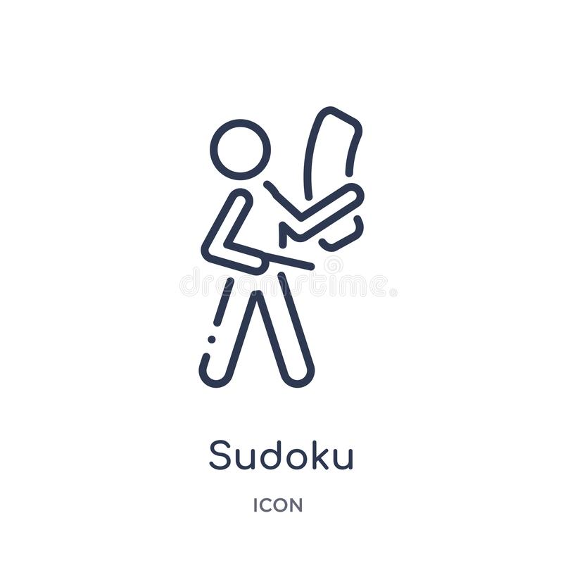Linear sudoku icon from Free time outline collection. Thin line sudoku vector isolated on white background. sudoku trendy vector illustration