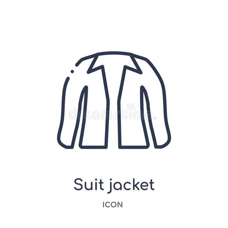 Linear suit jacket icon from Clothes outline collection. Thin line suit jacket vector isolated on white background. suit jacket stock illustration