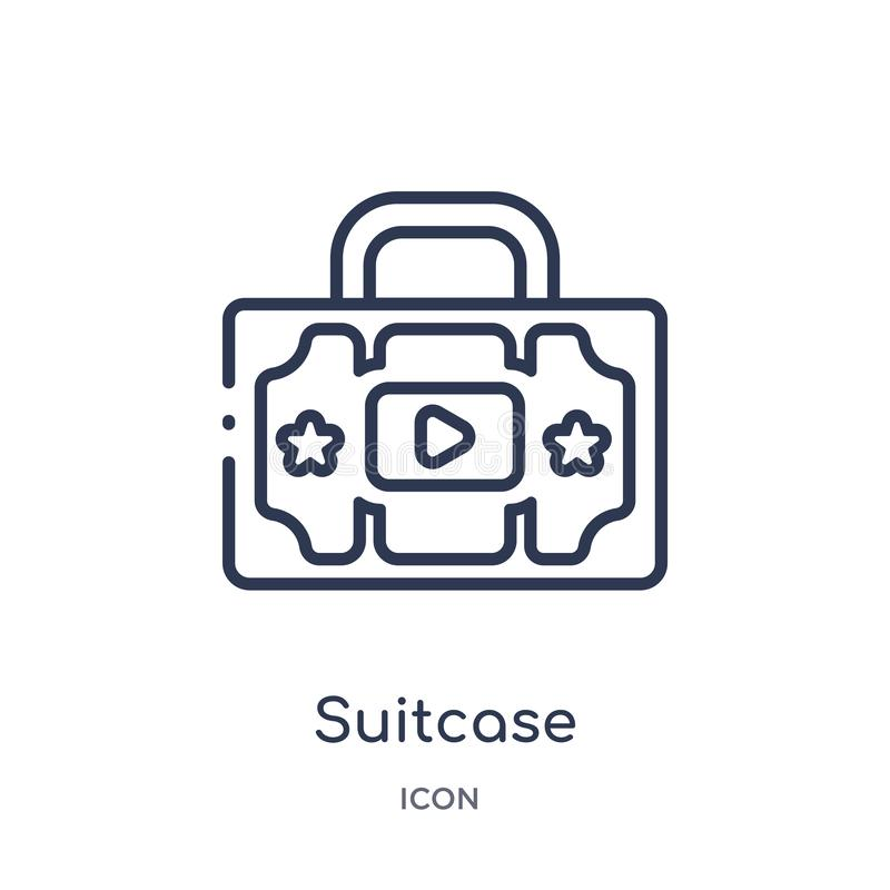 Linear suitcase icon from Blogger and influencer outline collection. Thin line suitcase vector isolated on white background. stock illustration