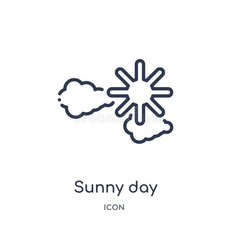 Linear sunny day icon from Airport terminal outline collection. Thin line sunny day vector isolated on white background. sunny day. Trendy illustration stock illustration