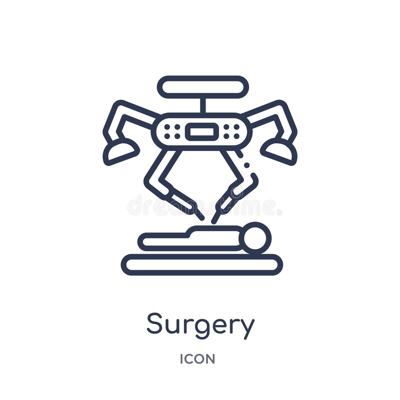 Linear surgery icon from Future technology outline collection. Thin line surgery icon isolated on white background. surgery trendy. Illustration vector illustration
