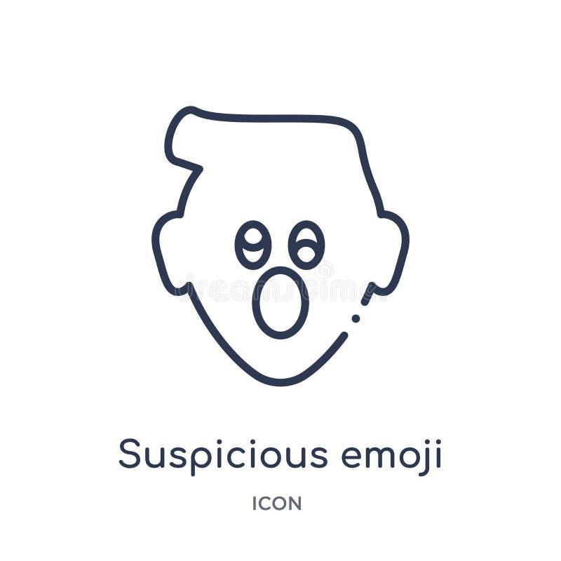 Linear suspicious emoji icon from Emoji outline collection. Thin line suspicious emoji vector isolated on white background. Suspicious emoji trendy royalty free illustration
