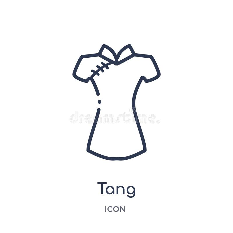 Linear tang icon from Asian outline collection. Thin line tang vector isolated on white background. tang trendy illustration. Icon royalty free illustration