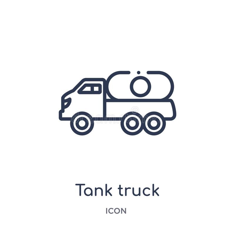 Linear tank truck icon from Construction outline collection. Thin line tank truck vector isolated on white background. tank truck vector illustration