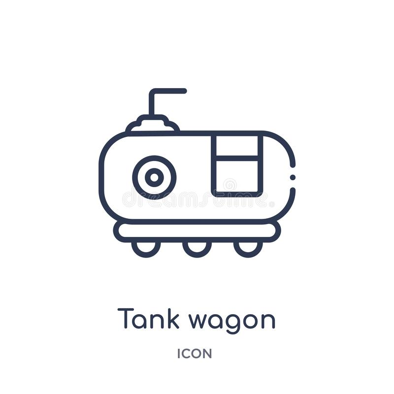 Linear tank wagon icon from Industry outline collection. Thin line tank wagon icon isolated on white background. tank wagon trendy vector illustration