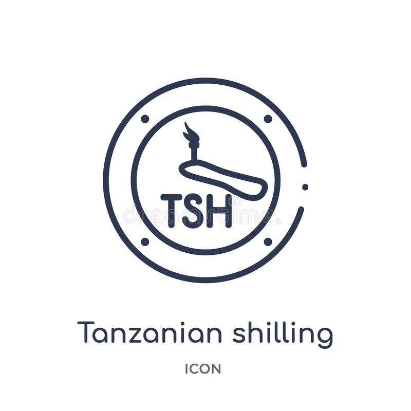 Linear tanzanian shilling icon from Africa outline collection. Thin line tanzanian shilling vector isolated on white background. royalty free illustration
