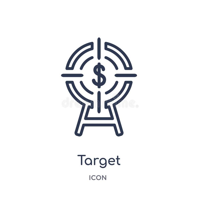 Linear target icon from Business outline collection. Thin line target icon isolated on white background. target trendy royalty free illustration