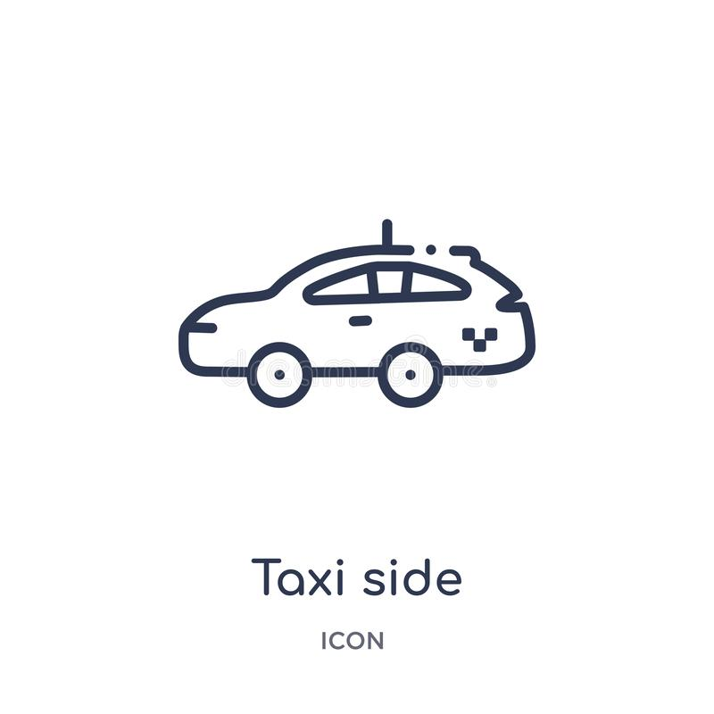 Linear taxi side icon from Mechanicons outline collection. Thin line taxi side icon isolated on white background. taxi side trendy stock illustration