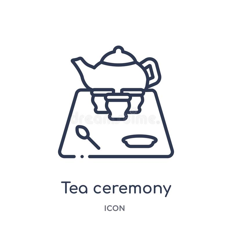 Linear tea ceremony icon from Food outline collection. Thin line tea ceremony icon isolated on white background. tea ceremony vector illustration