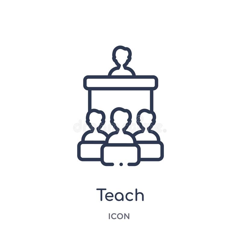Linear teach icon from Education outline collection. Thin line teach vector isolated on white background. teach trendy vector illustration