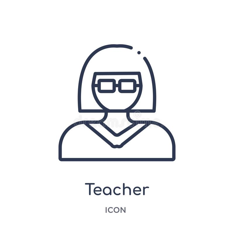Linear teacher icon from Education outline collection. Thin line teacher vector isolated on white background. teacher trendy royalty free illustration