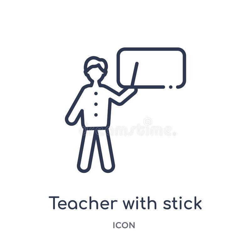 Linear teacher with stick icon from Education outline collection. Thin line teacher with stick vector isolated on white background stock illustration