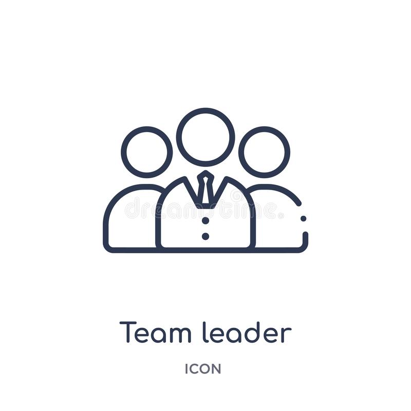 Linear team leader icon from General outline collection. Thin line team leader icon isolated on white background. team leader vector illustration