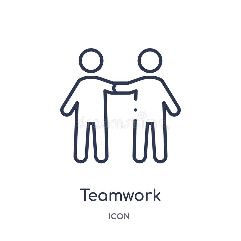 Linear teamwork icon from Human resources outline collection. Thin line teamwork icon isolated on white background. teamwork royalty free illustration
