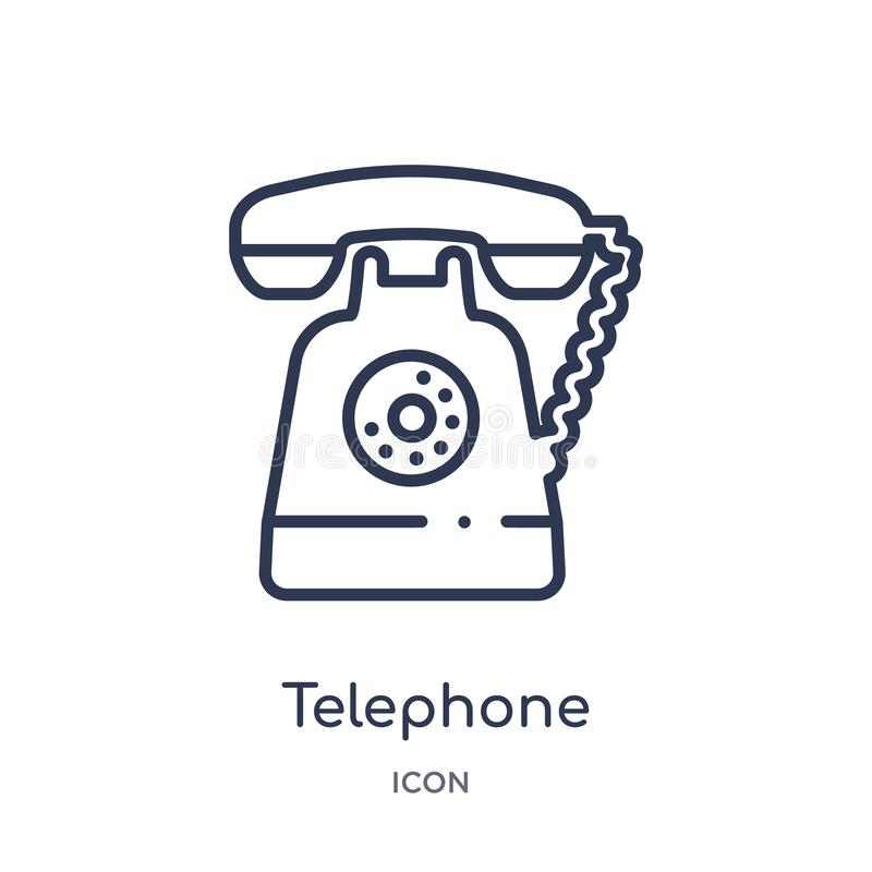 Linear telephone icon from Customer service outline collection. Thin line telephone vector isolated on white background. telephone royalty free illustration