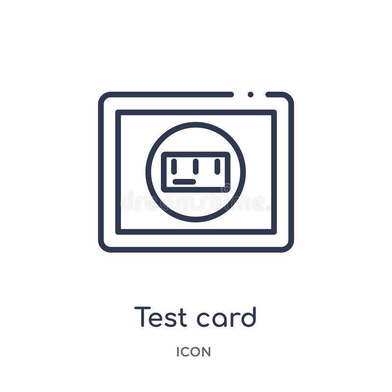 Linear test card icon from Electronics outline collection. Thin line test card icon isolated on white background. test card trendy vector illustration