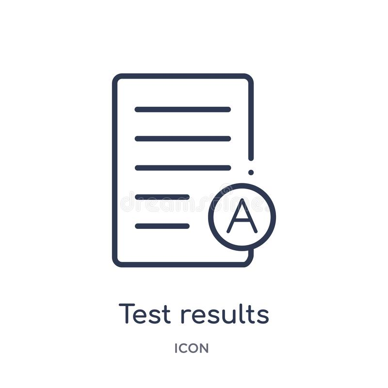 Linear test results icon from Education outline collection. Thin line test results icon isolated on white background. test results stock illustration
