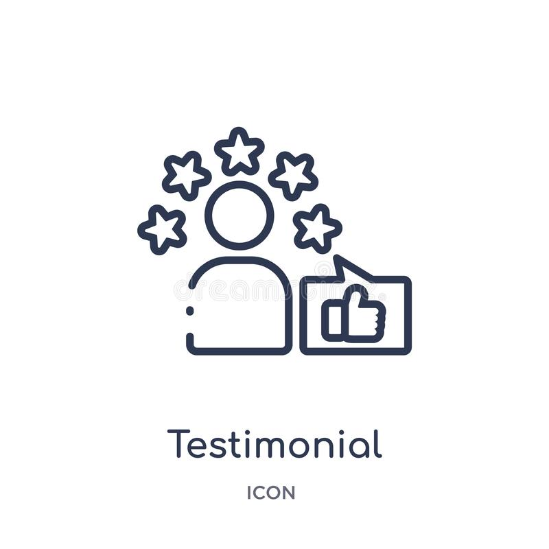 Linear testimonial icon from Feedback outline collection. Thin line testimonial vector isolated on white background. testimonial. Trendy illustration stock illustration