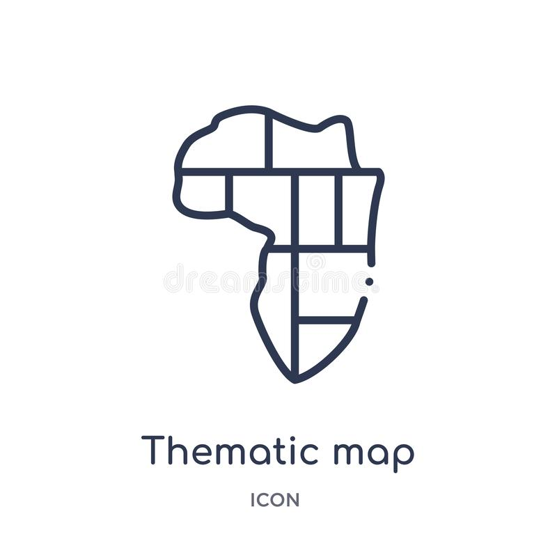 Linear thematic map icon from Maps and locations outline collection. Thin line thematic map icon isolated on white background. royalty free illustration