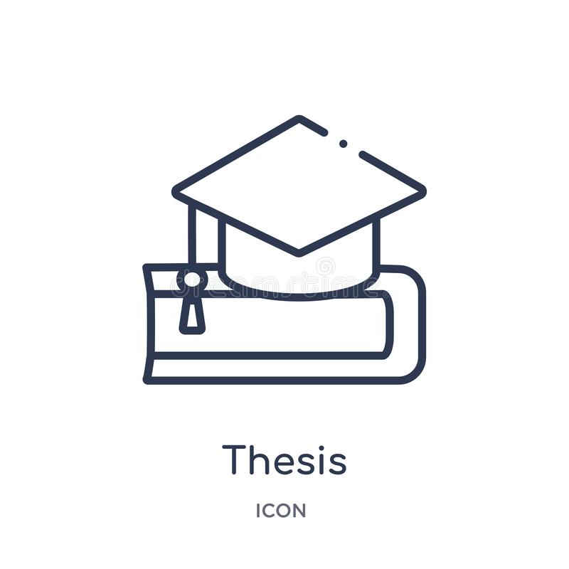 Linear Thesis Icon From Education Outline Collection. Thin Line Thesis  Vector Isolated On White Background. Thesis Trendy Stock Vector -  Illustration Of Vector, Research: 140055158