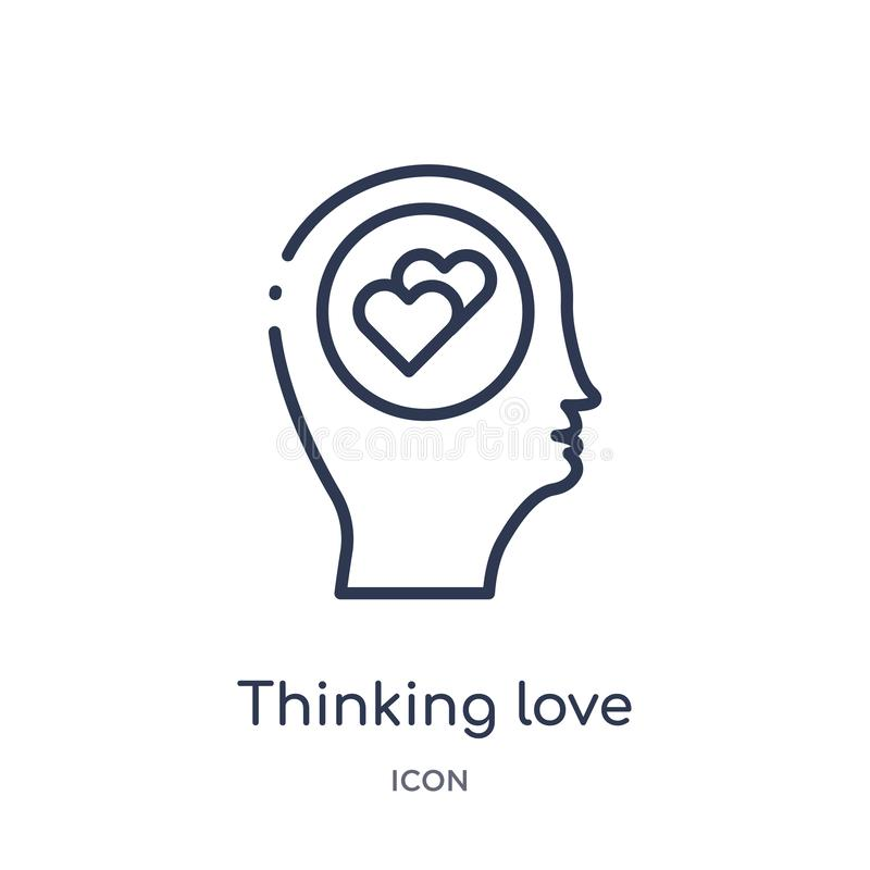 Linear thinking love icon from Brain process outline collection. Thin line thinking love vector isolated on white background. stock illustration